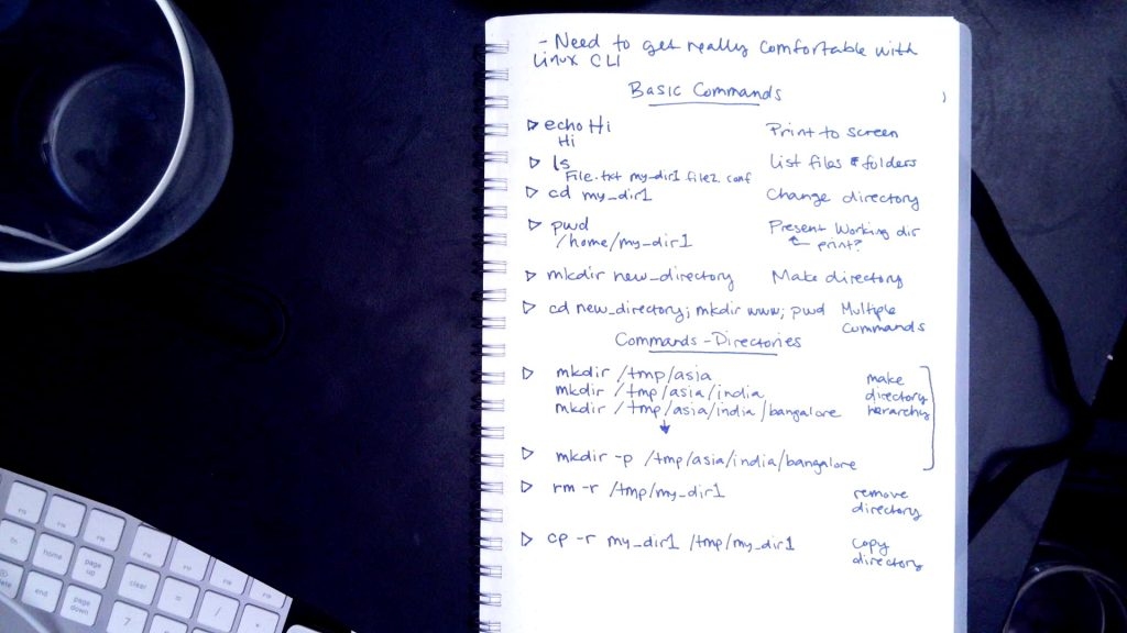 hand written command line notes