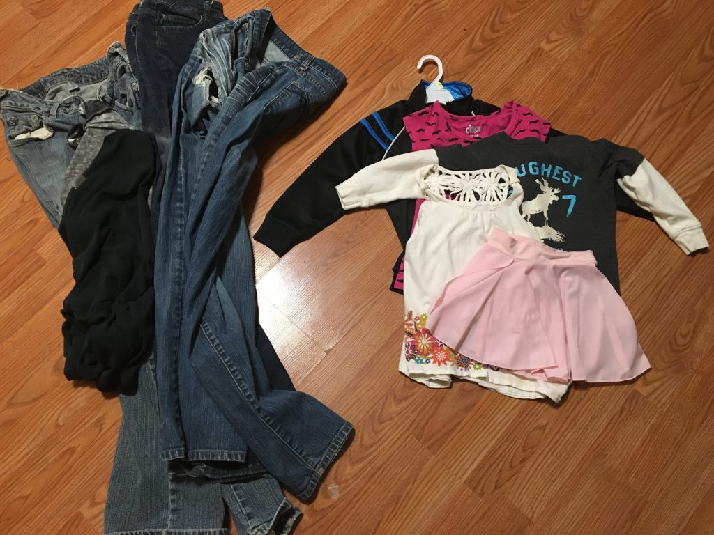 Two piles of clothes
